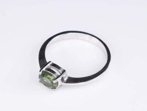 Elegant Round Shape Moldavite In Sterling Silver Ring (1.6grams) Ring Size: 58 (USA 8.5) 3