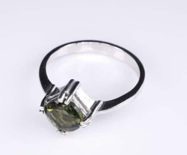Elegant Moldavite In Sterling Silver Ring (2.6grams) Ring Size: 53 (USA 6.5) 3