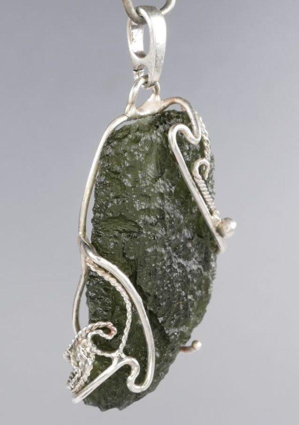 Beautiful Fine Moldavite In Filigree Sterling Silver Pendant (6.9grams) 3