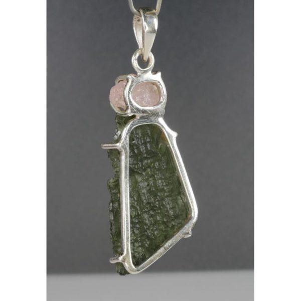 Genuine Raw Moldavite With Morganite Sterling Silver Pendant (8.3grams) 3
