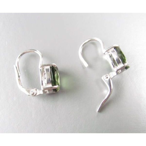 Oval Faceted Moldavite In Sterling Silver Earrings (2.4grams) 3
