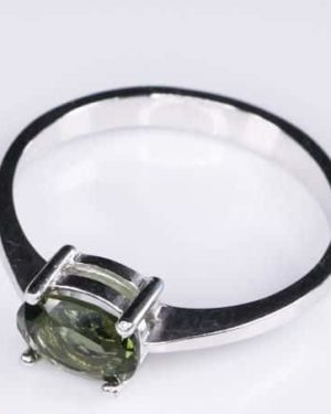Beautiful Shape Moldavite In Sterling Silver Ring (1.8grams) Ring Size: 57 (USA 8 1/4) 3