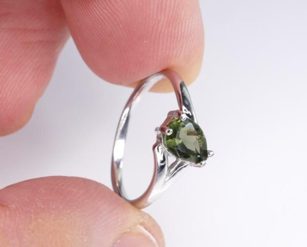 Excellent Shape Moldavite In Sterling Silver Ring (1.8grams) Ring Size: 55 (USA 7 1/2) 3