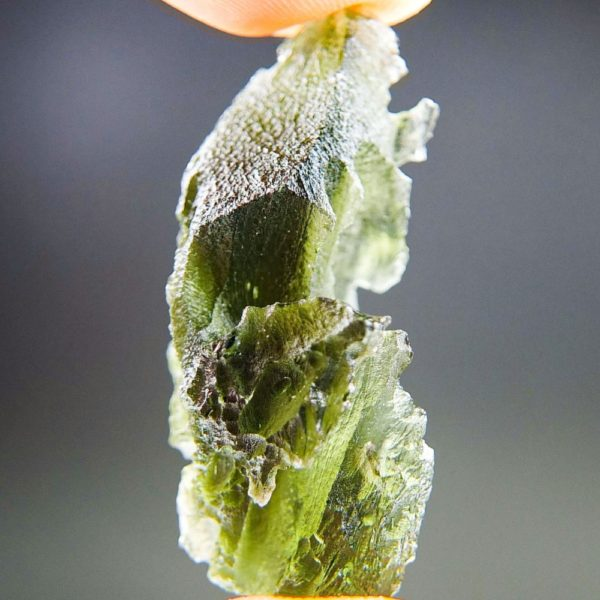 Quality A+/++ Uncommon Shape Bottle Green Moldavite With Certificate Of Authenticity (6.77grams) 3