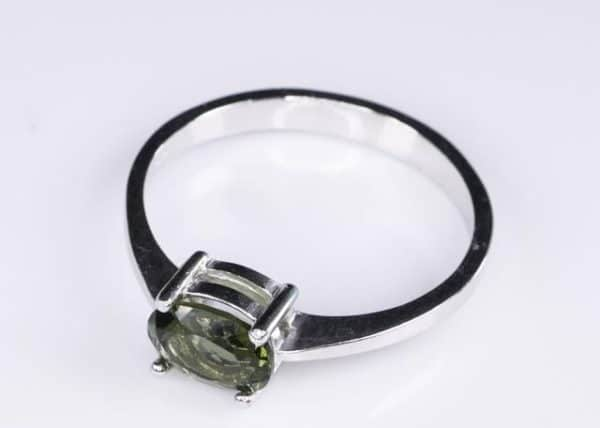 Oval Shape Moldavite In Sterling Silver Ring (1.8grams) Ring Size: 51 (USA 5 7/8) 3