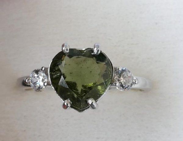 Elegant Heart Shape Moldavite In Sterling Silver Ring (2.0grams) Ring Size: 57 (USA 8 1/4) 3