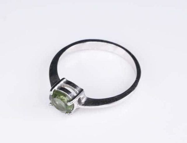 Round Shape Moldavite In Sterling Silver Ring (1.8grams) Ring Size: 60 (USA 9 3/8) 3