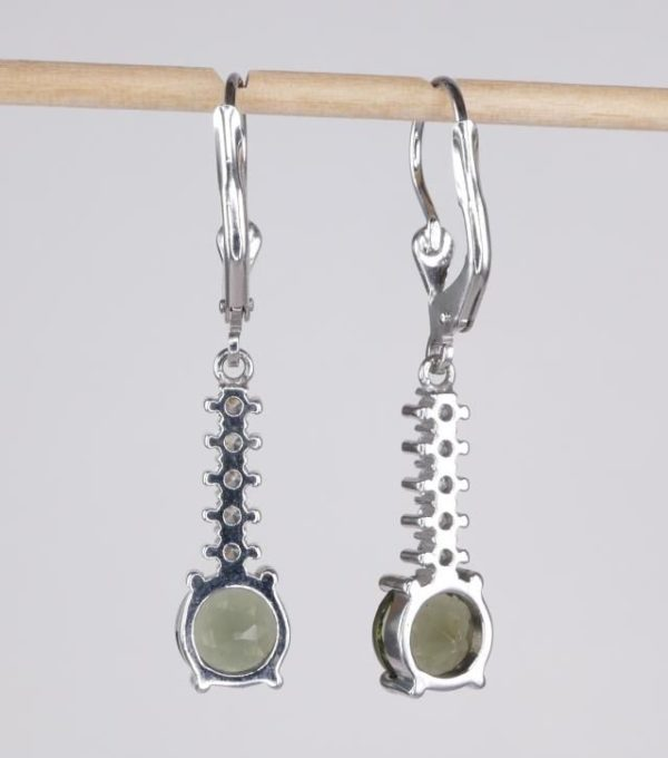 Round Cut Moldavite With Cubic Zirconia In Sterling Silver Dangle Earrings (3.4grams) 3