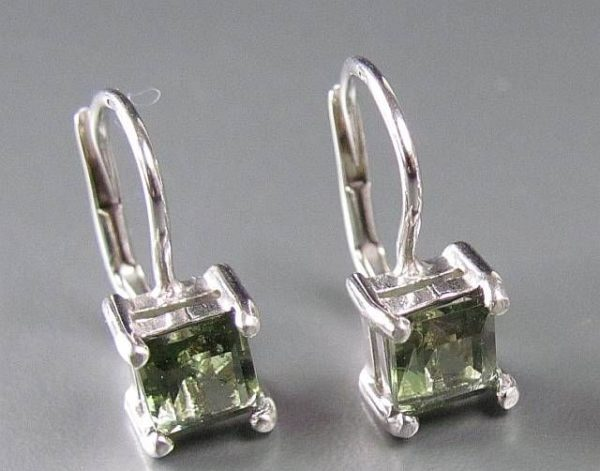 Excellent Square Moldavite In Sterling Silver Earrings (1.8grams) 3