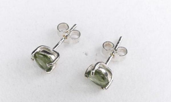 Heart Shape Moldavite In Sterling Silver Stud Earrings (0.8grams) 3