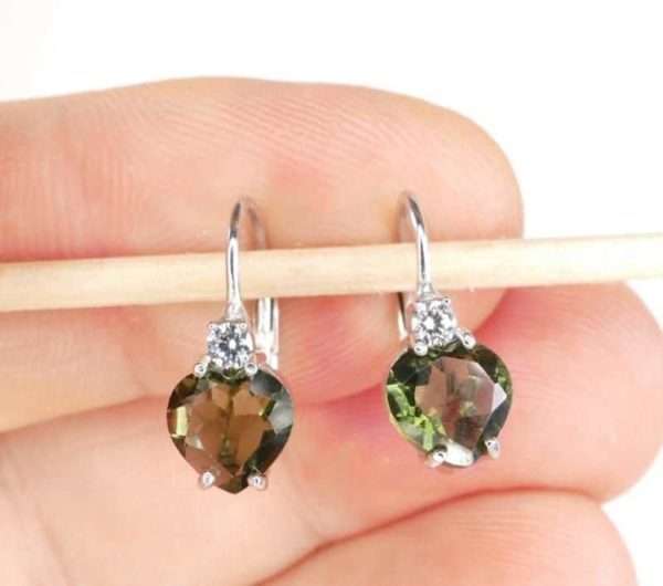 Beautiful Heart Cut Moldavite With Zirconia Sterling Silver Earrings (2.0grams) 3