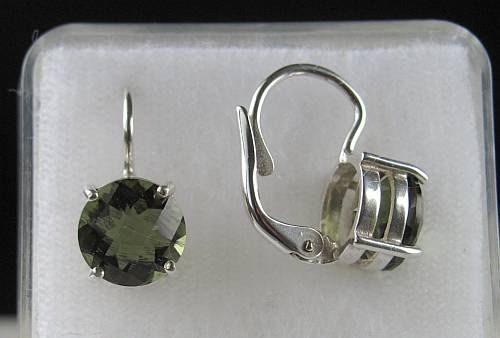 Elegant Raw Round Cut Moldavite In Sterling Silver Earrings (2.5grams) 3