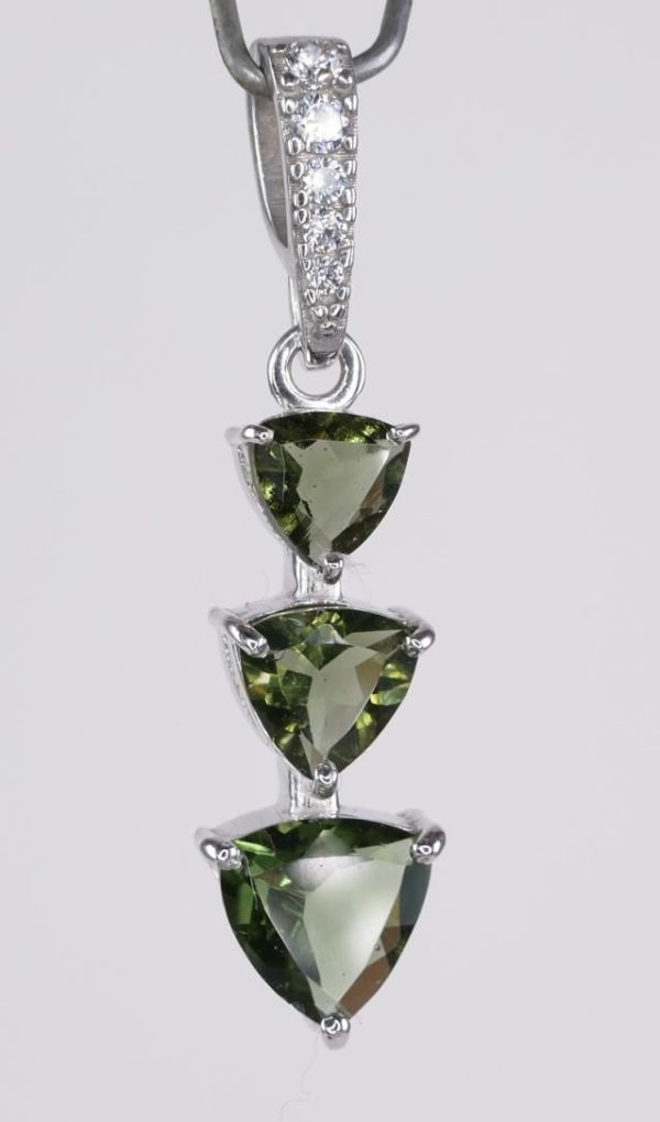 Three Trill Cut Shape Moldavite With Cubic Zirconia Sterling Silver Pendant (2.0grams) 3