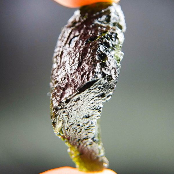 Large Glossy Open Bubble Moldavite With Certificate Of Authenticity (18.06grams) 3