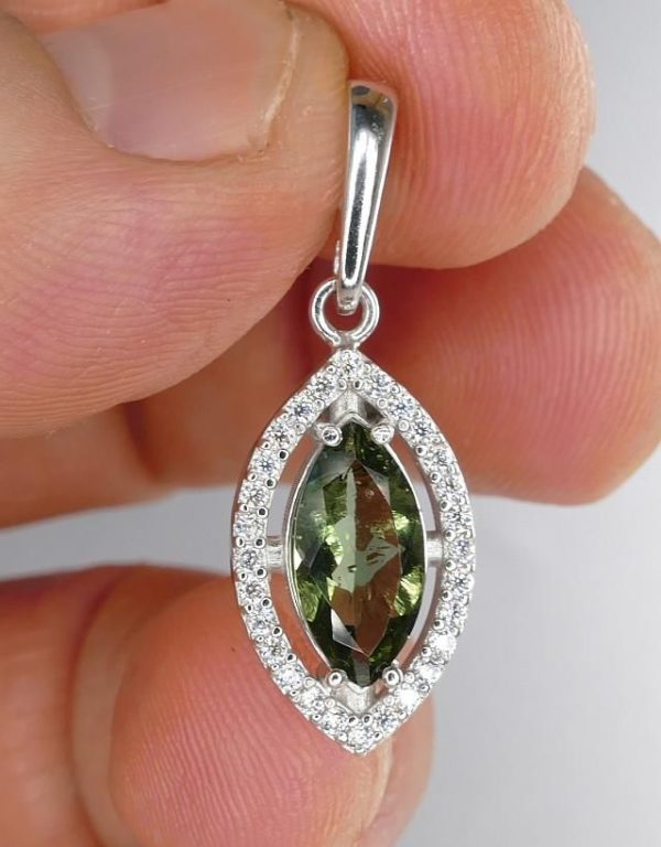 Moldavite With Cubic Zirconia Sterling Silver Pendant (2.2grams) 4
