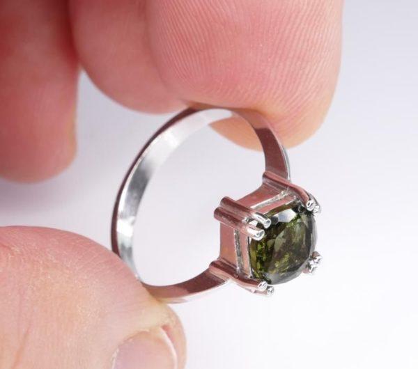 Elegant Moldavite In Sterling Silver Ring (2.6grams) Ring Size: 53 (USA 6.5) 4