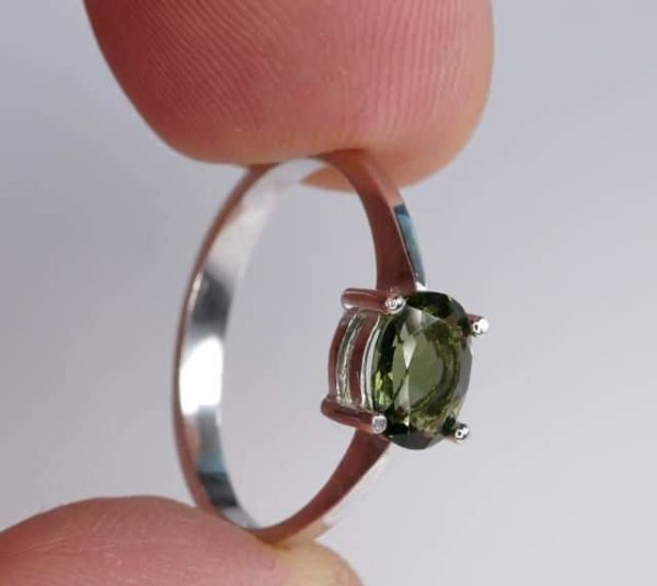 Beautiful Shape Moldavite In Sterling Silver Ring (1.8grams) Ring Size: 57 (USA 8 1/4) 4