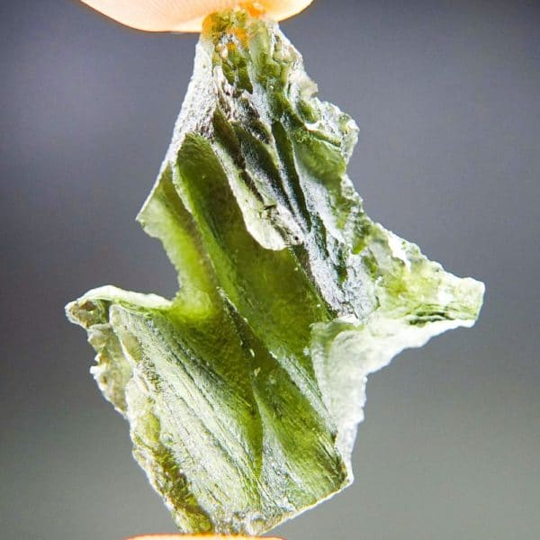 Quality A+/++ Uncommon Shape Bottle Green Moldavite With Certificate Of Authenticity (6.77grams) 4