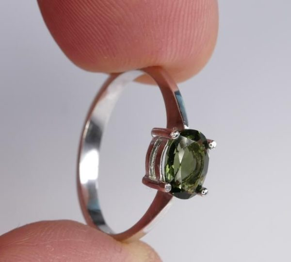 Oval Shape Moldavite In Sterling Silver Ring (1.8grams) Ring Size: 51 (USA 5 7/8) 4