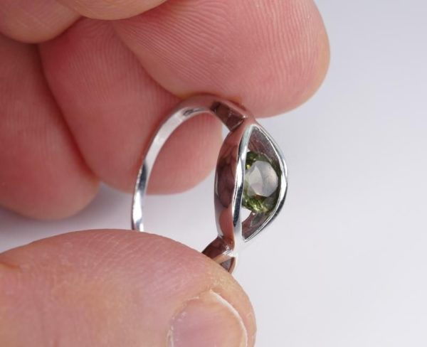 Excellent Shape Moldavite In Sterling Silver Ring (2.5grams) Ring Size: 53 (USA 6 1/2) 4