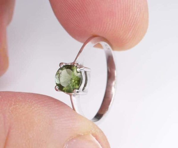 Round Shape Moldavite In Sterling Silver Ring (1.8grams) Ring Size: 60 (USA 9 3/8) 4