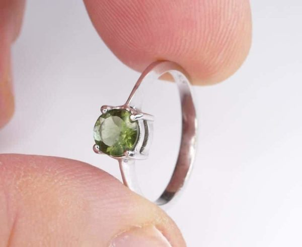 Round Shape Moldavite In Sterling Silver Ring (1.4grams) Ring Size: 51 (USA 5 7/8) 4