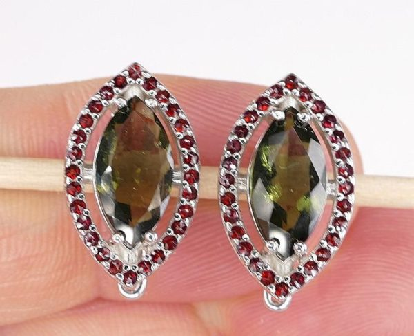Marquise Cut Moldavite With Garnets Sterling Silver Earrings (4.9grams) 4