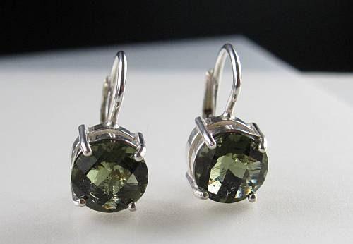 Elegant Raw Round Cut Moldavite In Sterling Silver Earrings (2.5grams) 4