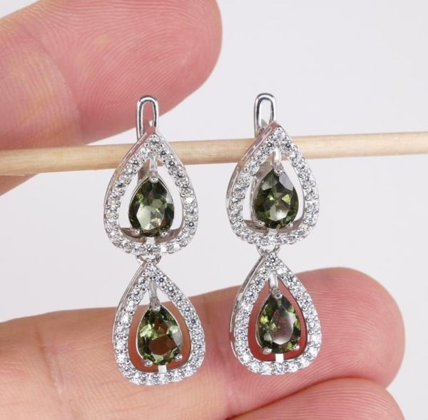 Double Pear Cut In Cubic Zirconia Sterling Silver Earrings (6.9grams) 4