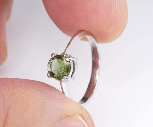Round Shape Moldavite In Sterling Silver Ring (1.6grams) Ring Size: 56 (USA 7 3/4) 4