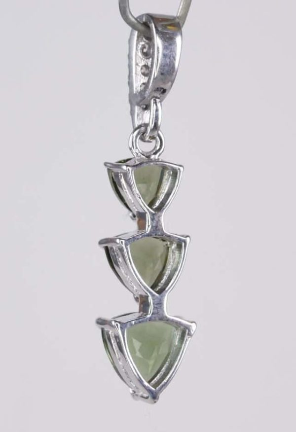 Three Trill Cut Shape Moldavite With Cubic Zirconia Sterling Silver Pendant (2.0grams) 4