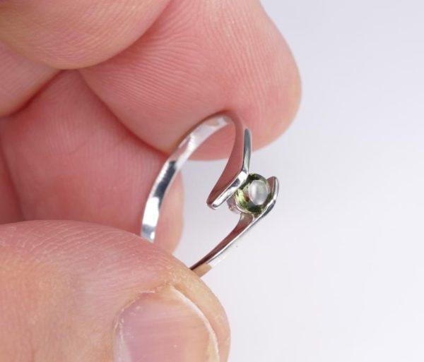 Round Cut Moldavite With Garnet Sterling Silver Earrings (1.1grams) 4