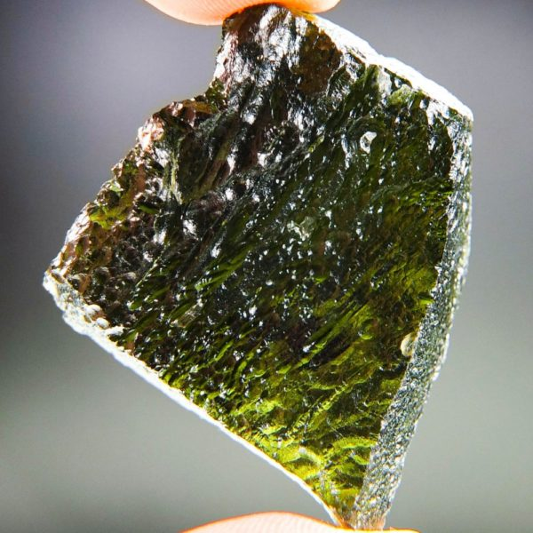 Large Glossy Open Bubble Moldavite With Certificate Of Authenticity (18.06grams) 4