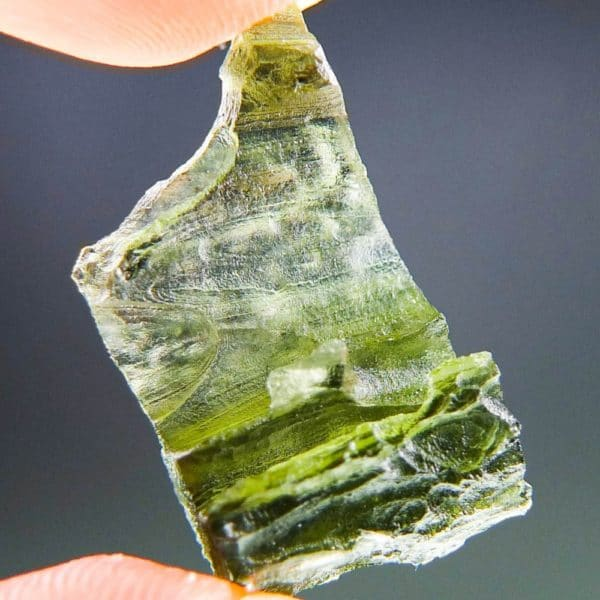 Uncommon Shape Olive Green Moldavite (3.02grams) 4