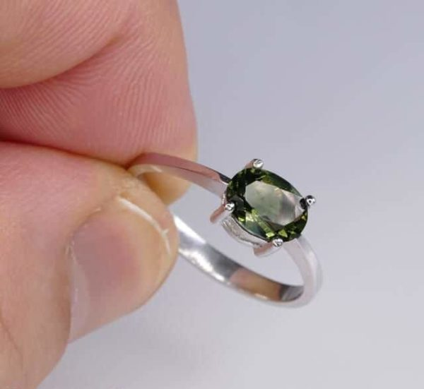 Beautiful Shape Moldavite In Sterling Silver Ring (1.8grams) Ring Size: 57 (USA 8 1/4) 5