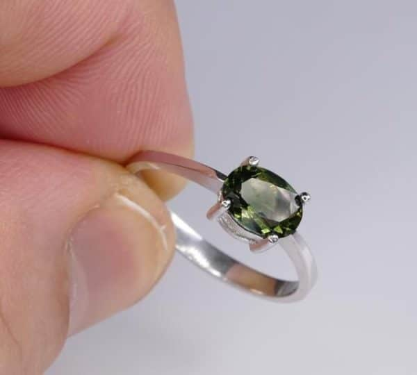 Oval Shape Moldavite In Sterling Silver Ring (1.8grams) Ring Size: 51 (USA 5 7/8) 5