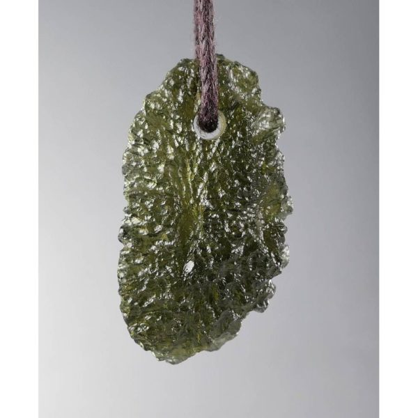 Fine Jewelry Shape Drilled Moldavite Necklace (3.2grams) 1
