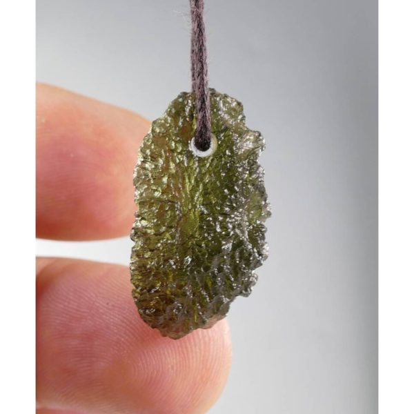 Fine Jewelry Shape Drilled Moldavite Necklace (3.2grams) 3