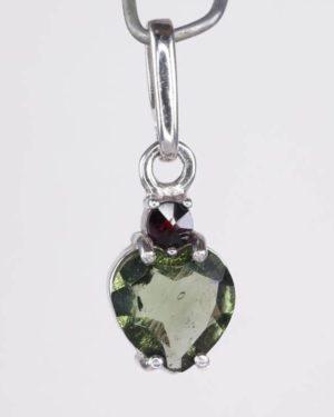 Beautiful Heart Cut Moldavite With Garnet Sterling Silver Pendant (1.1grams) 1