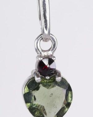 Beautiful Heart Cut Moldavite With Garnet Sterling Silver Pendant (1.1grams) 2