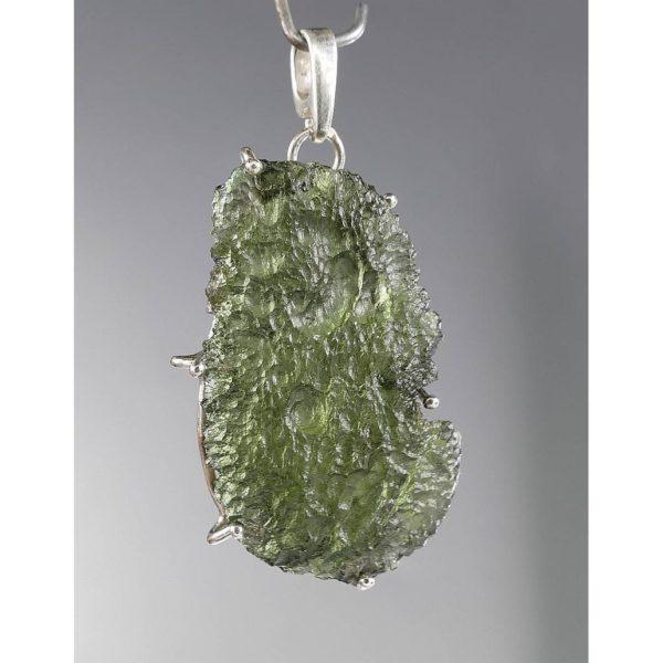 Beautiful Rare Shape Moldavite In Sterling Silver Pendant (4.3grams) 1