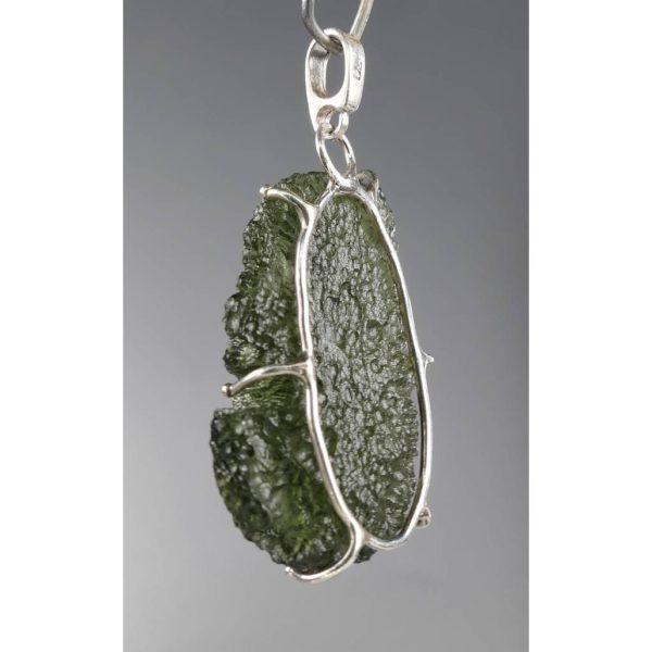 Beautiful Rare Shape Moldavite In Sterling Silver Pendant (4.3grams) 2