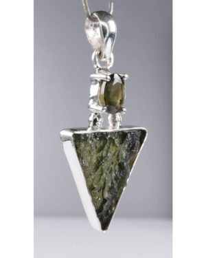 Beautiful Rare Shape Moldavite Sterling Silver Pendant (5.1grams) 2
