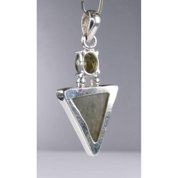Beautiful Rare Shape Moldavite Sterling Silver Pendant (5.1grams) 4
