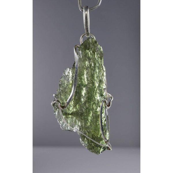 Beautiful Shape Moldavite With Original Design Silver Pendant (3.5grams) 1