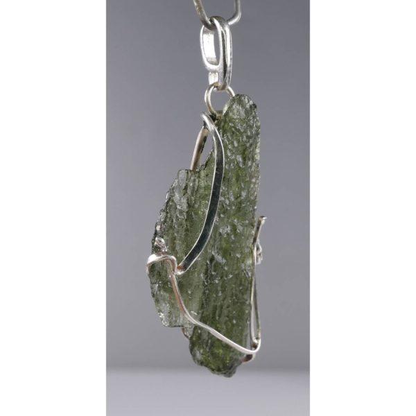 Beautiful Shape Moldavite With Original Design Silver Pendant (3.5grams) 2