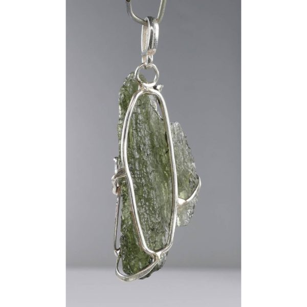 Beautiful Shape Moldavite With Original Design Silver Pendant (3.5grams) 3