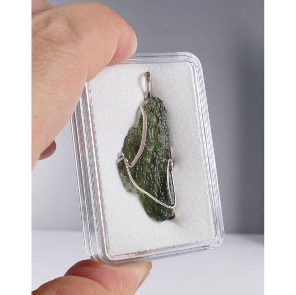 Beautiful Shape Moldavite With Original Design Silver Pendant (3.5grams) 4