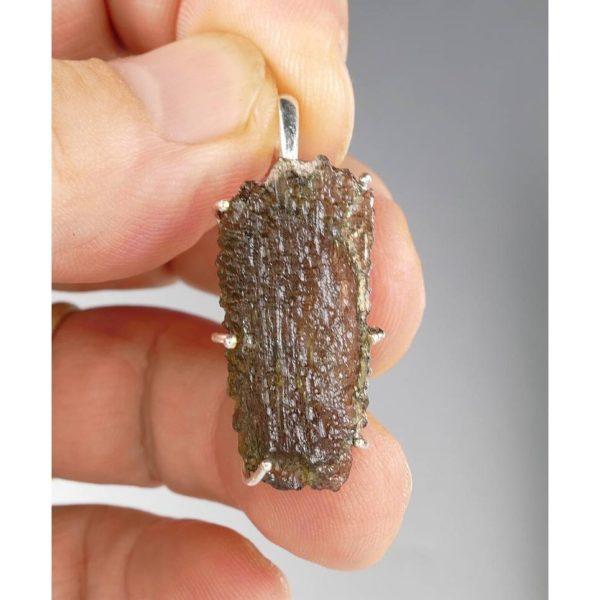 Elegant Jewelry Shape Moldavite In Sterling Silver Pendant (2.9grams) 3