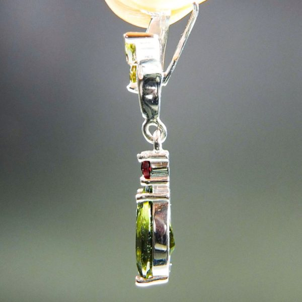 Faceted Moldavite With Garnets Pendants With Certificate Of Authenticity (2.0grams) 3